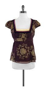 Nanette Lepore Maroon Gold Floral Print Top