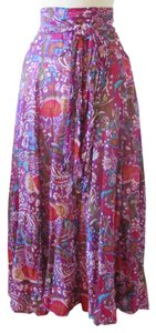 Sundance Peasant Boho Ruched Maxi Skirt Purple