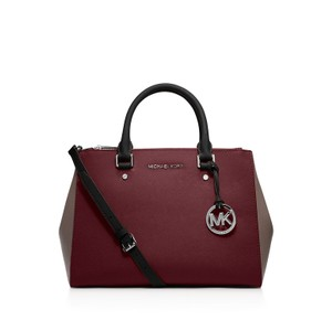 Michael Kors Sutton Colorblock Leather Satchel in Merlot / Cinder / Black