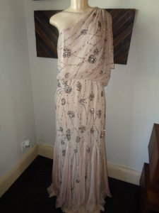 Adrianna Papell Blush/Nude Adrianna Papell Beaded One Shoulder Gown Dress