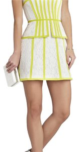 BCBGMAXAZRIA short dress white and lime/yellow on Tradesy