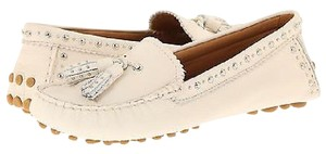 Coach Norfolk Studded Chalk Leather Moccasins Beige Flats