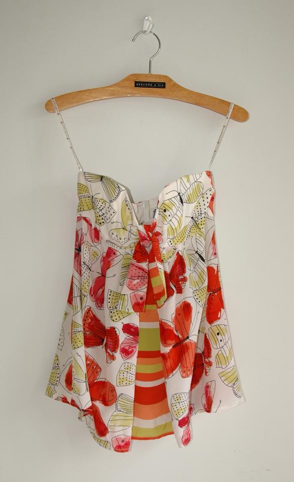 a664c10c699bd8 Nanette Lepore White Red Silk Bustier Butterfly Print Blouse Size 2 ...