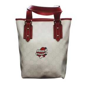 Gucci Heart Tattoo Bucket Tote in White