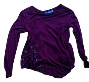 Simply Vera Vera Wang Sequin Sparkle Top Merlot
