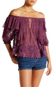 Free People Boho Off Lace Top Mauve