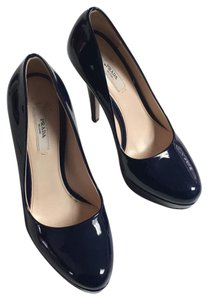 Prada Navy Patent Leather Platforms