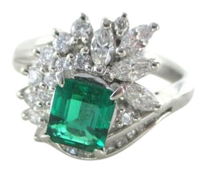 Other PLATINUM EMERALD RING DIAMONDS CARAT WEDDING BAND 8 GRAMS SZ 6 FINE JE