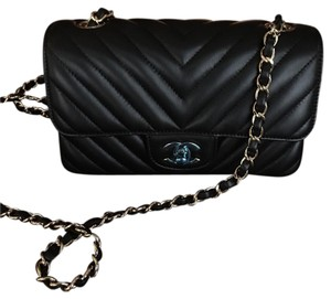 Chanel Mini Black Lambskin Chevron Shoulder Bag