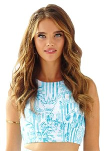 Lilly Pulitzer Crop Jacquard Cotton Top Blue and White