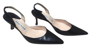 Manolo Blahnik Manolo Leather Slingback Black Pumps