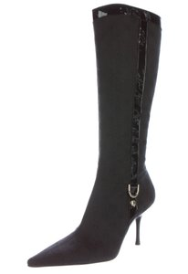 Gucci Round Toe Gg Monogram Knee High Black Boots