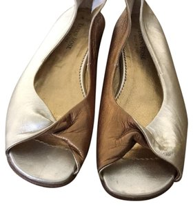 Taryn Rose bronze silver and gold Flats