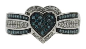 Other Blue Diamond Heart Solitaire Ring-10k White Gold