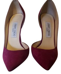 Jimmy Choo Suede Pump Gold Classic Dark Orchid Pumps