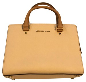 Michael Kors Satchel in Taupe/White