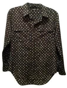 Apt. 9 Button Down Shirt Black w/round paint dots