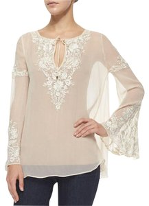 Haute Hippie Silk Floral Longsleeve Embroidered Sheer Top Ivory