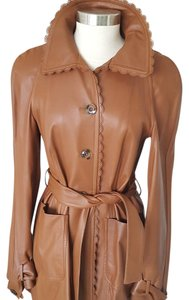 Valentino Belted Leather Lambskin Carmel Leather Jacket