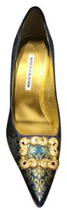 Manolo Blahnik Gold and green Pumps