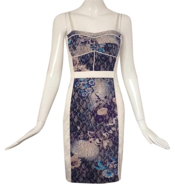Item - Blue/ White Color and Paneling Mid-length Cocktail Dress Size 4 (S)