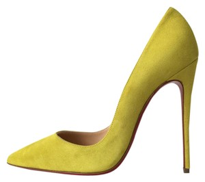 Christian Louboutin Pigalle Follies So Kate Suede Cubiste Yellow Pumps