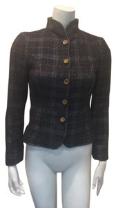 Valentino Wooden Buttons Wool Blend Plaid Jacket Olive Blazer