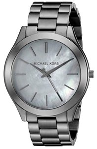 MICHAEL Michael Kors Slim Runway Gunmetal SS Mother Of Pearl Women's Bracelet Watch