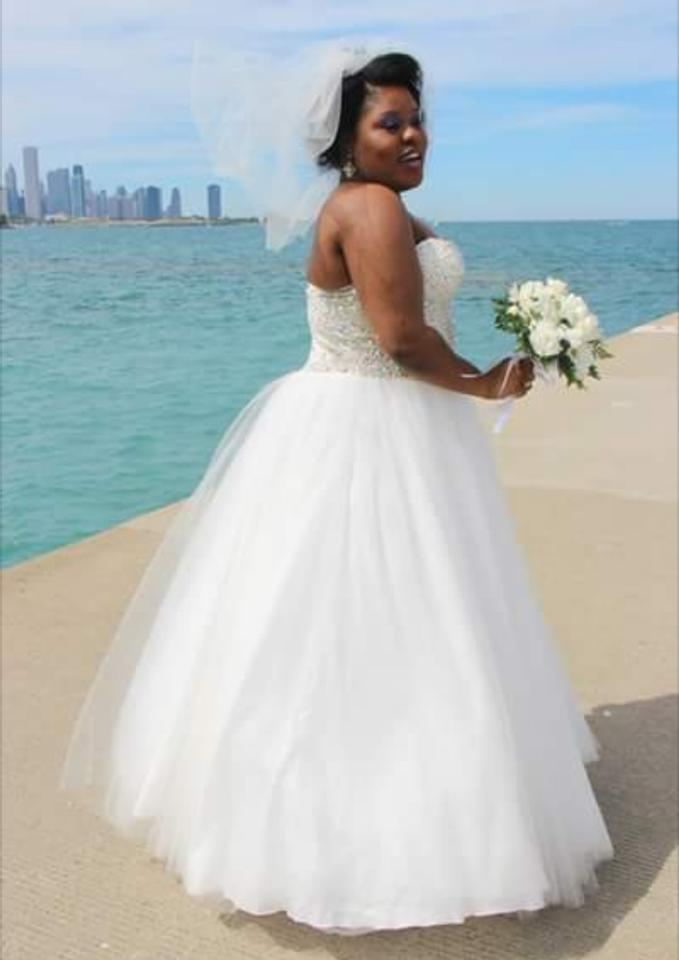 Terani Couture White Polyester Glamour Formal Wedding Dress Size 18 ...