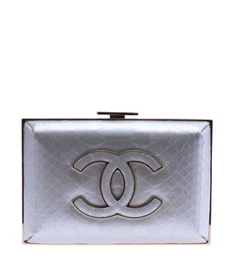 Chanel Snakeskin Baby Classic Cc Blue Clutch