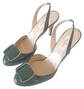 Valentino Green Leather Cristal Forest Green Pumps