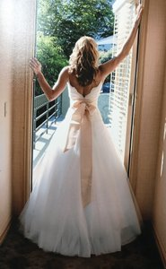 Monique Lhuillier Off White Alencon Lace and Tulle Swan Sexy Wedding Dress Size 4 (S)