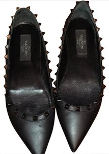 Valentino Rockstud Silver Studs Black Leather black/pewter Flats