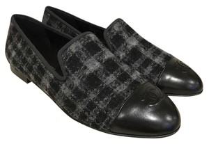 Chanel Tweed Loafer Slip Leather black Flats