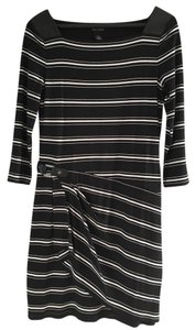 White House | Black Market short dress Black/White Striped Faux Leather on Tradesy