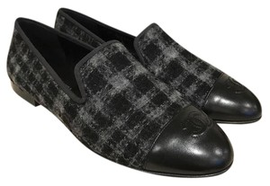 Chanel Tweed Leather Classic Slide Mule black Flats
