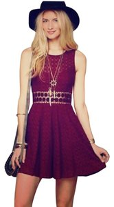 Free People short dress Deep Red Embroidered Lace on Tradesy