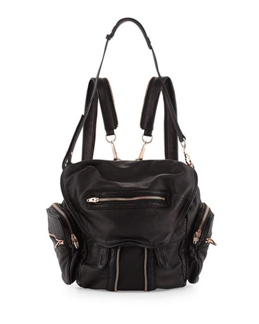 Item - Mini Marti with Rose Gold Black Leather Backpack