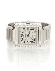Cartier Cartier 18k Gold & Diamond Automatic Large Tank Francaise Watch