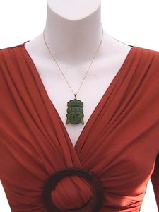 Other 10k & 14k Yellow Gold Buddha Jade Necklace