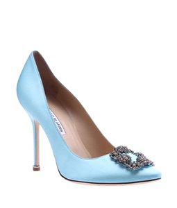 Manolo Blahnik Rhinestone Satin Blue Pumps