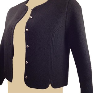Carroll Reed Boiled Wool Vintage Chic Scalloped Black Blazer