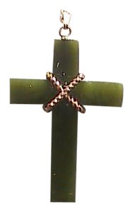 14K Yellow Gold Cross Jade Pendant