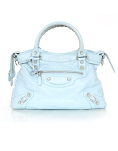 Balenciaga Town Distressed Studded Shoulder Bag