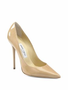 Jimmy Choo Designer Patent Leather nude Pumps