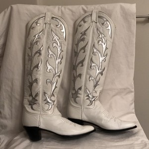 Larry Mahan Black Leather Cowboy Western White Silver Boots