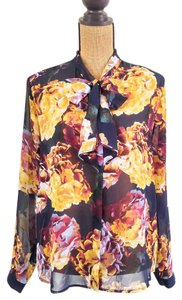 Liz Claiborne Chiffon Floral Bow Tie Collar Classy Top Black, Yellow, Purple, Blue, Red, Pink