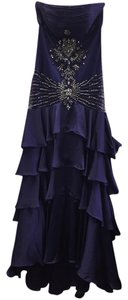 Sue Wong Gown Beaded Pleated Sleaveless Dress