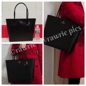 Kate Spade Large Zip Top Leather Leather Tote in Black