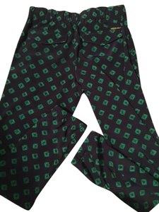 Michael Kors Jogger Relaxed Pants Navy with Green Pattern